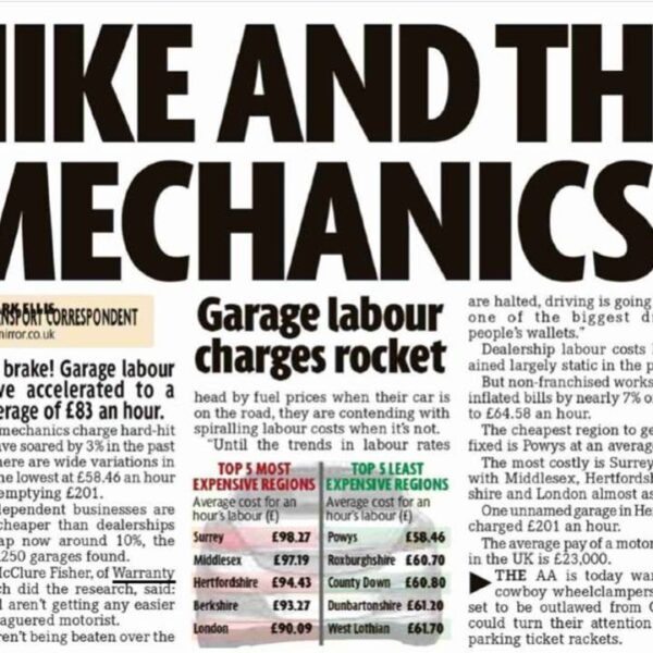 Motorists clobbered by record garage labour rates