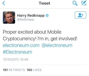 Harry Redknapp Influencer Mobile Cryptocurrency